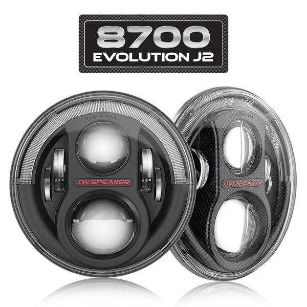 "JW SPEAKER 8700 EVO J2 7"" ROUND LED PAIR JEEP JK HEADLIGHT Black 0554543"