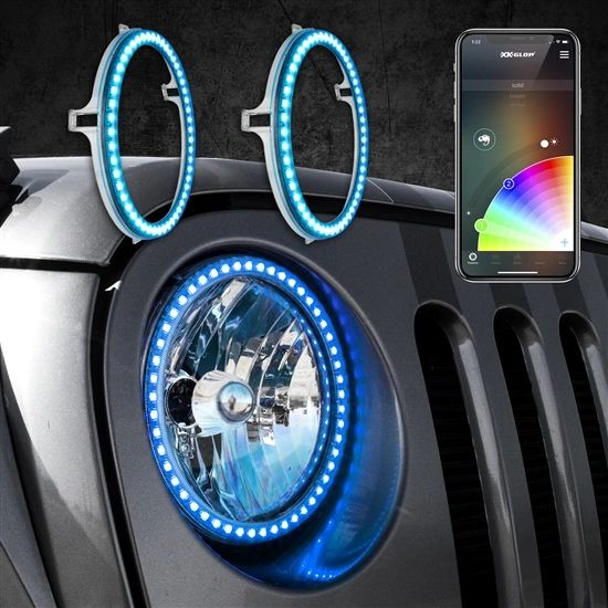 """2pc 7"""" RGB LED External Jeep Halo Ring XKchrome Bluetooth App Controlled Kit w/ Turn Signal and DRL Function"""