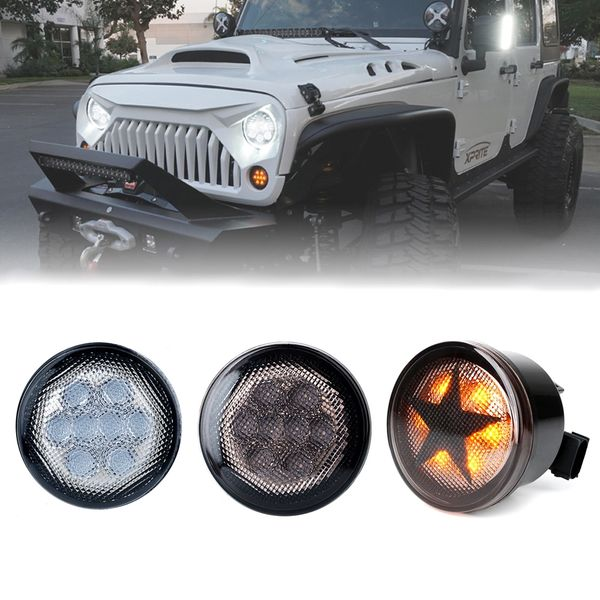 Smoke / Clear / Star Lens Amber LED Turn Signal Light for 07-18 Jeep Wrangler