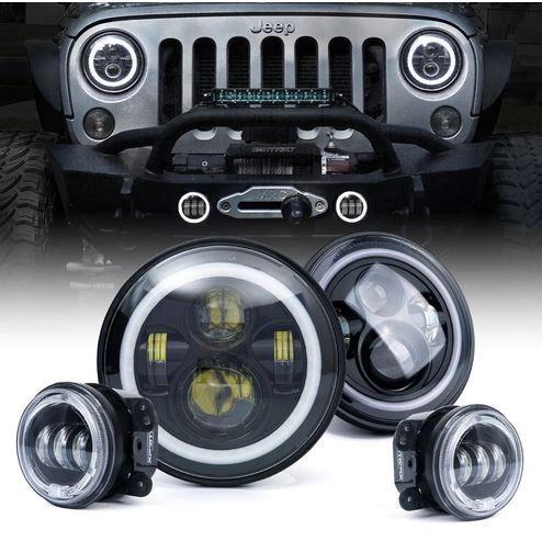 "7"" 80W CREE LED Headlights & Fog Lights Combo With Halo For 2007-2018 Jeep Wrangler JK"