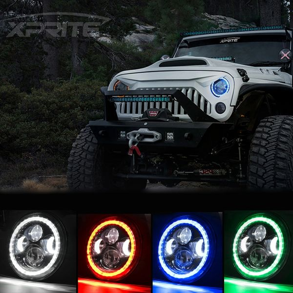 """Xprite 7"""" 90W LED Headlights with Halo For 1997-2018 Jeep Wrangler"""