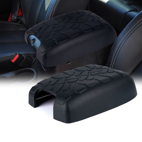 Rubber Armrest Center Console Cover with Tire Tread Design for 11-16 Jeep Wrangler