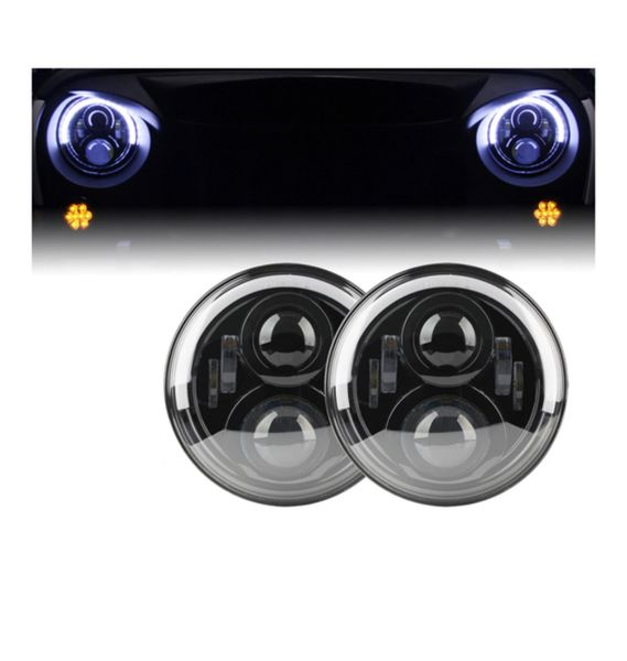 "7"" 100W LED G3 Projector Headlights With Top Halo For 1997-2017 Jeep Wrangler"