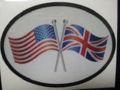 USA/Union Jack Crossed flag bumper sticker