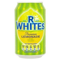 R White's Lemonade cans