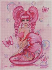 Pink Mermaid with Bubbles