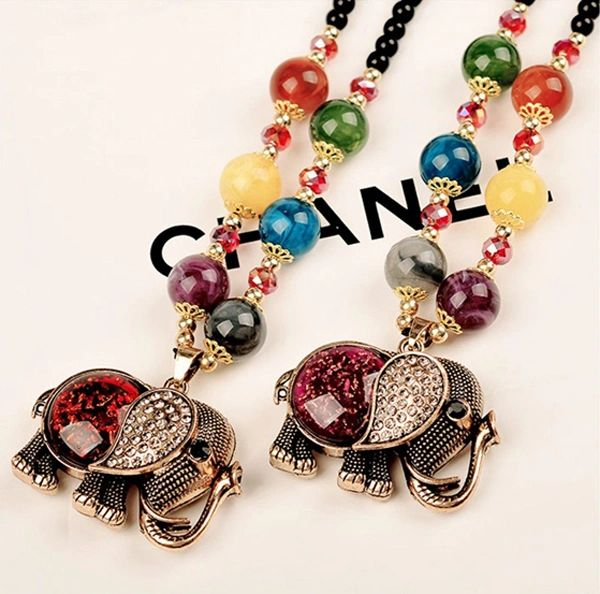 04d2b8e67 Bohemian beaded necklace with elephant pendant - Long - 18