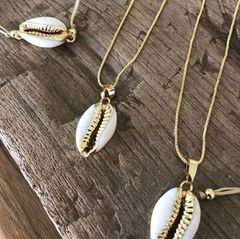 Gold Rimmed Cowrie Pendant