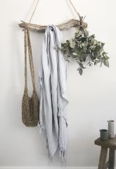 Linen Tassel Throw- Frost Blue