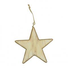 Natural Wood Star w/ Jute