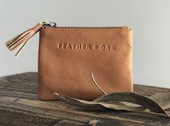 Feather & Oak Leather Zip Purse Tan