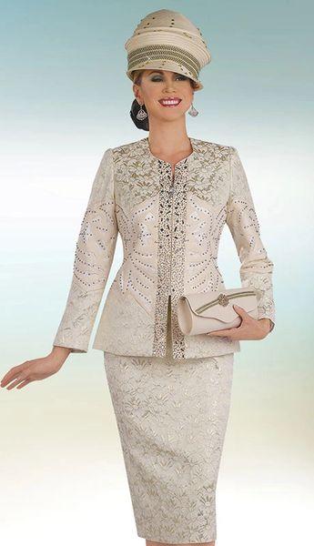 Women S Two Piece Beige Brocade Dress Suit Bigdiscountusa Com
