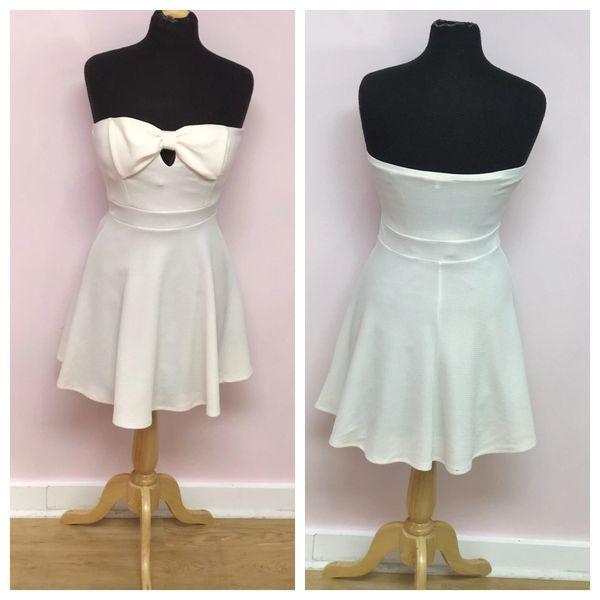Size Medium Charlotte Russe Creme Strapless Bow Mini Dress The