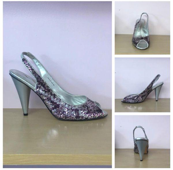 cefa81b0328 Size 8.5 Nina Purple   Silver Sequin Peep Toe Slingback Heels