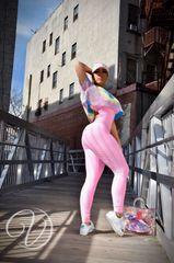"""Natalie Scrunch Booty Jumpsuit """"Bubble Gum Pink"""""""