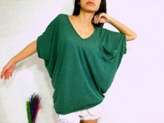 C02 Yes Sizzling Women Alternative Forest Green Oversized Tee
