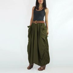G08 The One and Only II Women Army Olive Green Maxi Skirt