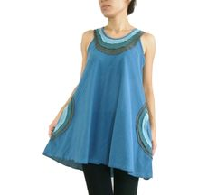D23 Summer Flirt Women Loose A Shape Blue Tank Top with Pockets