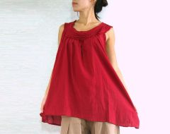 D20 Sweet Layers Summer Women Red Sleeveless Blouse Maternity