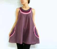 E22 Summer Flirt Women Loose A Shape Lavender Purple Tank Top with Pockets