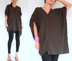 G23 Retro Karen Women Oversized Brown Tunic Summer Bohemian Boho Top