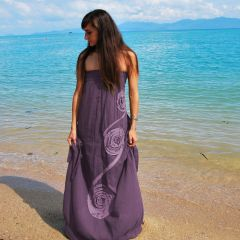 A04 Infinity Women Purple Long Maxi Dress Summer Casual