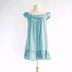 I07 Pollens Loose Comfy Women Light Blue Cotton Sleeveless Peasant Blouse