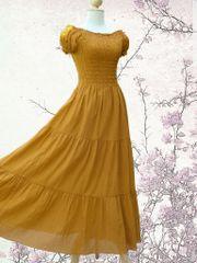 G24 Sweet Summer I Women Mustard Cotton Romantic Peasant Maxi Dress