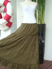 H10 Aerial Bohemian Olive Army Green Women Long Cotton Tiered Maxi Skirt