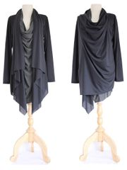 B07 High Street Women Black Asymmetrical Layered Tunic Top Long Slouchy Wrap Cardigan