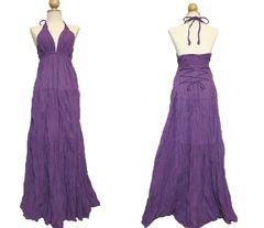 F09 Simply Elegant Summer Purple Halter Maxi Dress Floor Length