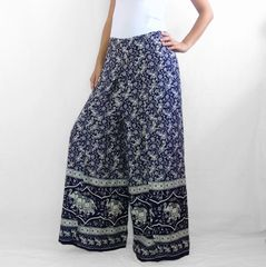 I15 Asana Women Navy Blue Wide Leg Elephant Pants