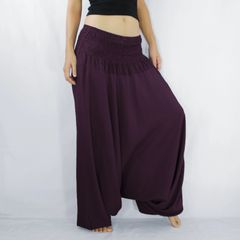 I01 Solid Burgundy Purple Women Jumpsuit Dresss Yoga Harem Pants