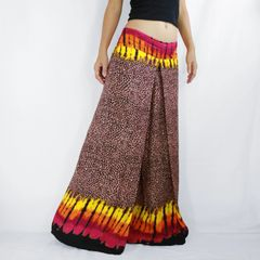 G13 Asana Women Brown Leopard Print Wide Leg Hippie Pants