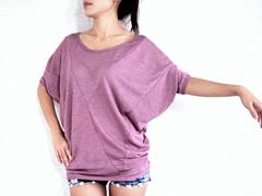 E18 Origami Women Loose Oversized Dolman Sleeves Tee in Pink Fuchsia