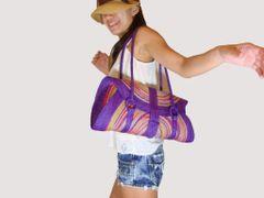 Z01 Hunsa Sisal Colorful Handmade Purple Women Summer Bag
