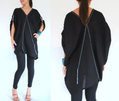 B12 Retro Karen Women Oversized Black Summer Tunic Bohemian Boho Top