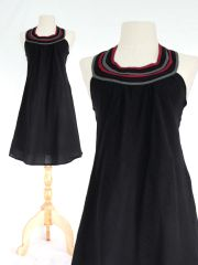 H13 Summer Flirt Women Black Bib Dress Cotton Mini Dress