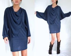 F10 In The Midst Dark Blue Tunic Boho Oversized Women Long Dolman Sleeves Blouse