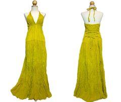 E19 Simply Elegant Cotton Yellow Halter Maxi Dress Bridesmaid Dress