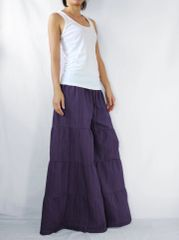I04 Breezy Mist Women Purple Plum Wide Leg Pants Cotton Beach Palazzo Pants Casual Trousers