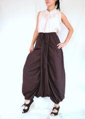 F19 Mulan Women Brown Harem Pants Sarouel Baggy Festival Loose Genie Pants