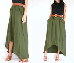 E14 I Say Yes Olive Army Green Women High Low Summer Cotton Maxi Skirt Pockets