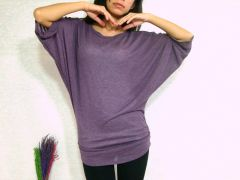 D04 Edgy Occasion Sexy Purple Women Dolman Sleeves Top