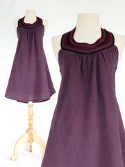 D22 Summer Flirt Women Purple Lavender Bib Dress Cotton Mini Dress