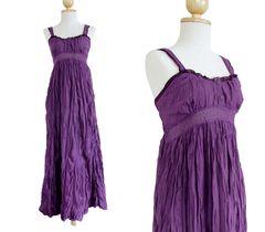 E08 Maui Women Long Cotton Purple A Shape Lace Maxi Dress Sundress