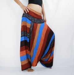 E23 Boho Rusty Brown Striped Low Cut Jumpsuit Women Harem Pants