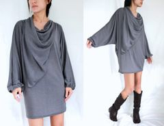 G09 In The Midst Gray Mini Dress Boho Tunic Oversized Long Dolman Batwing Sleeves