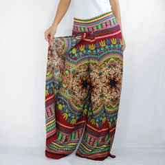 D14 Asana Women Red Tribal Mandalas Wide Leg Pants