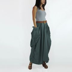 H09 The One and Only II Dark Gray Cotton Maxi Skirt